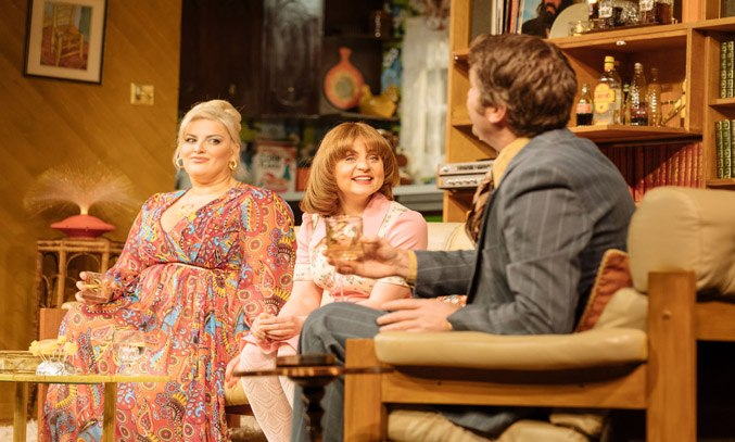 Jodie Prenger as Beverly, Vicky Binns as Angela and Dan Casey as Lawrence in ABIGAIL'S PARTY