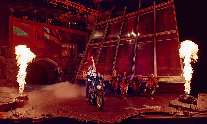 Glenn Adamson as Strat, Martha Kirby as Raven and the cast of Bat Out Of Hell in BAT OUT OF HELL THE MUSICAL