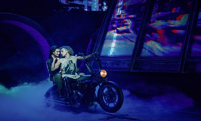 Martha Kirby as Raven and Glenn Adamson as Strat in BAT OUT OF HELL THE MUSICAL